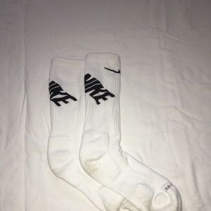 worn once white mike tube socks. med/large